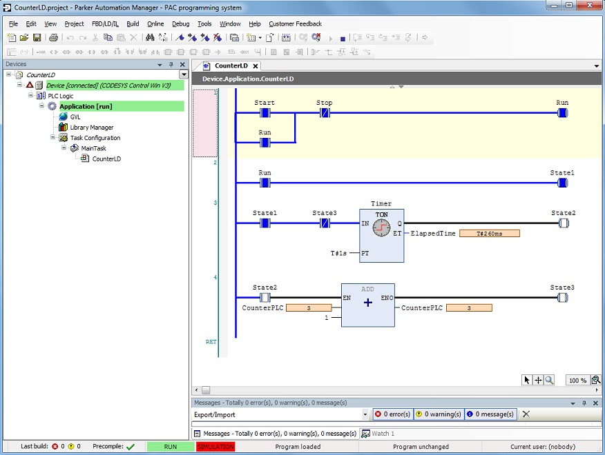 Parker Electromechanical Automation FAQ Site   PAC   Sample Ladder Logic LD Program  time based